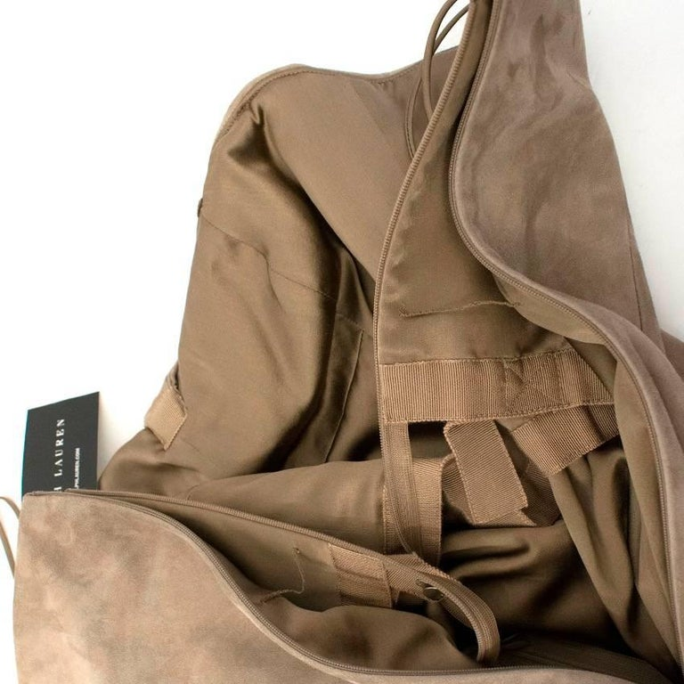 Ralph Lauren Taupe Suede Strapless Dress - Size US 6 For Sale 2