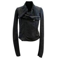 Rick Owens Black Blistered Leather Biker Jacket