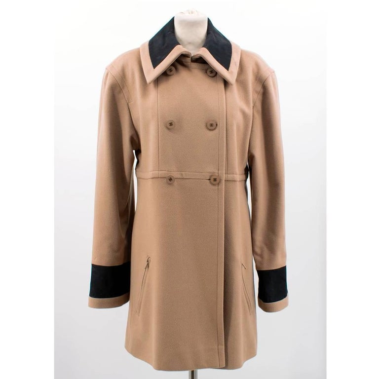 Brown Chanel Tan Wool Coat For Sale