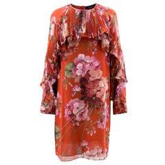 Gucci Red Floral Silk Mini Dress