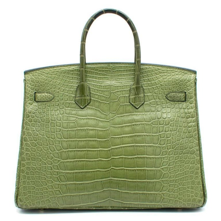 Brown Hermes 35cm Vert Anis Nilo Crocodile Birkin For Sale