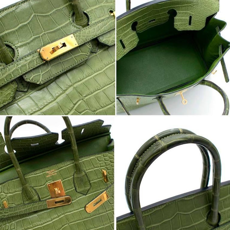Hermes 35cm Vert Anis Nilo Crocodile Birkin For Sale 3