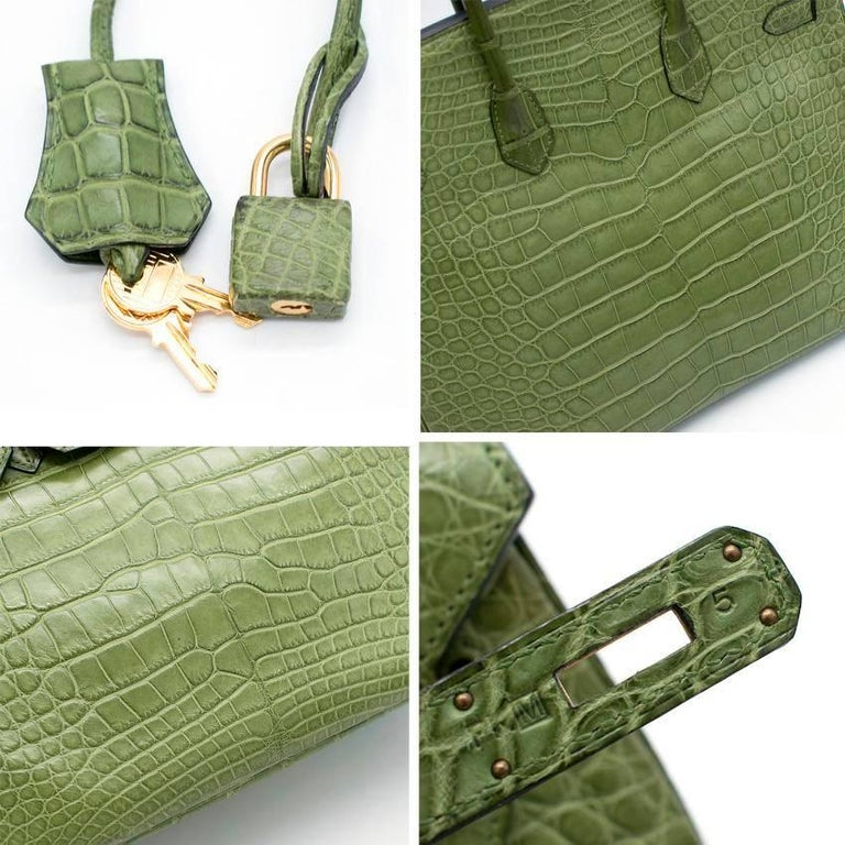 Hermes 35cm Vert Anis Nilo Crocodile Birkin For Sale 2