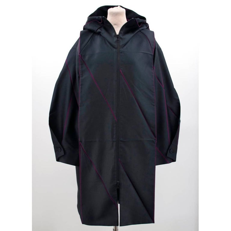 Black Issey Miyake Hooded Coat For Sale