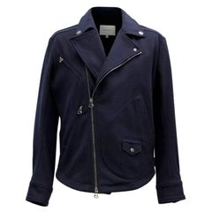 Pierre Balmain Navy Wool Biker Jacket