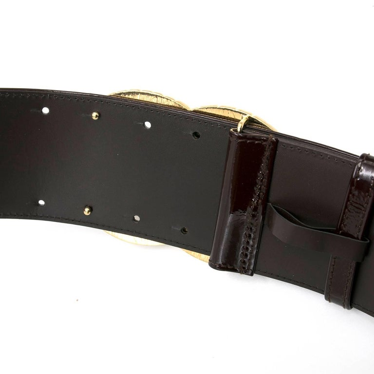 chanel brown patent wide leather belt for sale at 1stdibs