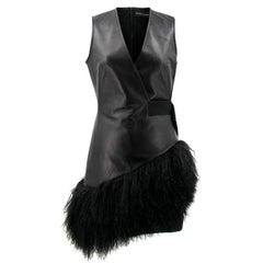 David Koma Black Leather and Fur Dress