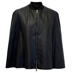 Vionnet Black Leather Cape with Sheer Detail