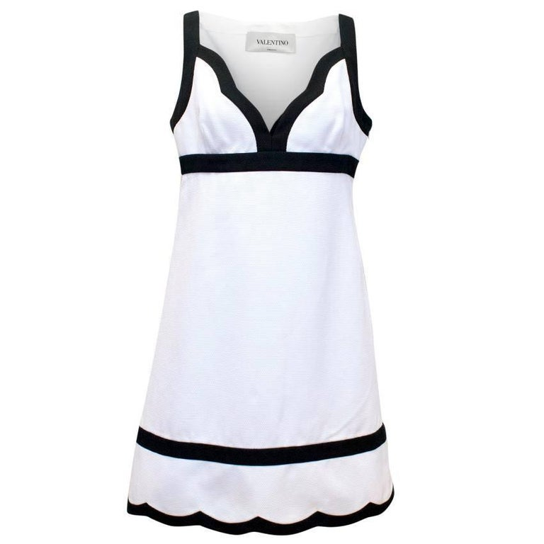 Valentino White and Black A-Line Midi Dress