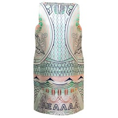 Mary Katrantzou Silver Shift Dress with Metallic Print
