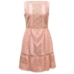 Valentino Powder Pink Crochet A-Line Dress