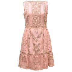 Valentino Powder Pink Crochet A-Line Dress