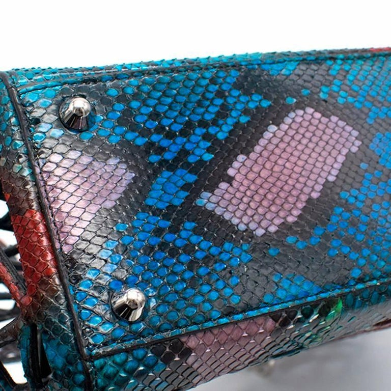 Dior multi- coloured python runway 2014 tote bag.  Made in Italy.   Features a signature Dior keyring on front of bag.  Includes a small python leather pouch within interior.   Approx Measurements: Tote Bag: Handle Drop- 13cm Length- 32cm Height-