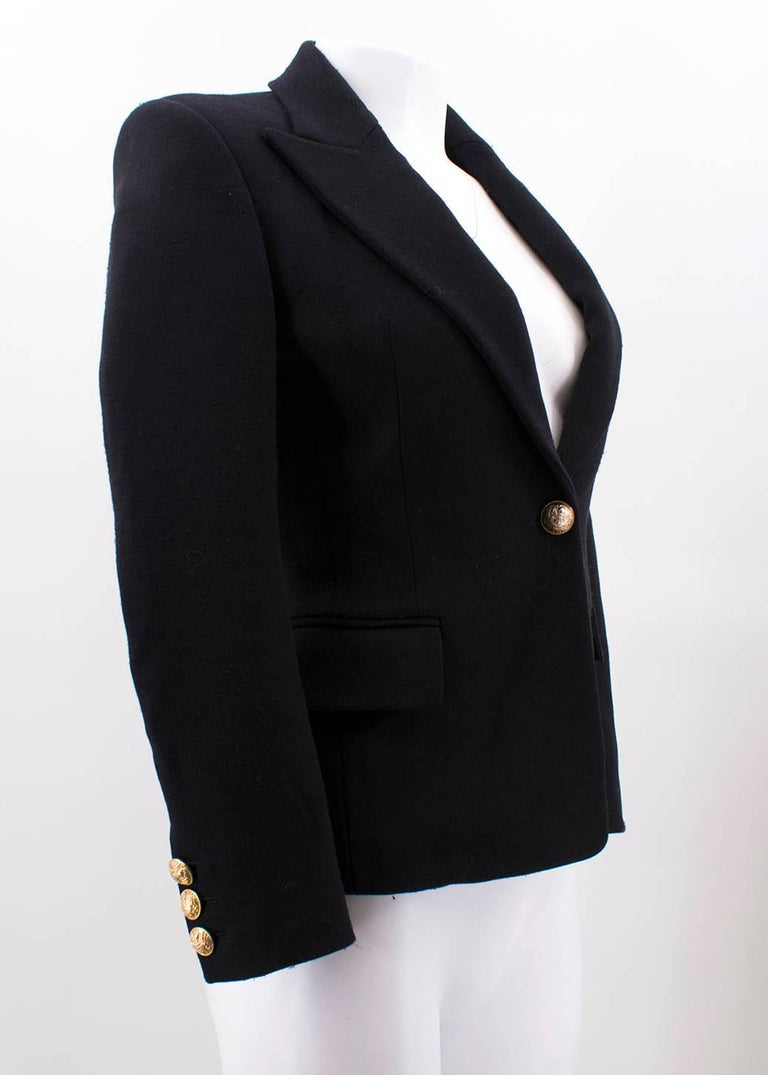 Balmain Black Single Breasted Blazer Jacket For Sale 3
