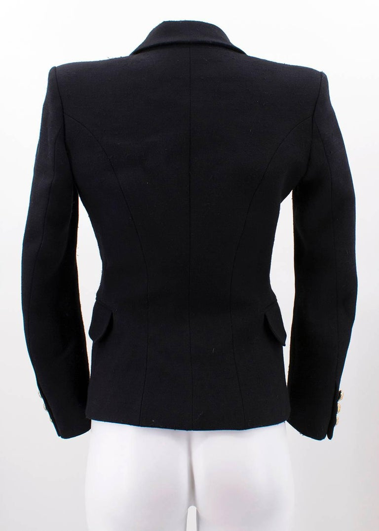 Balmain Black Single Breasted Blazer Jacket For Sale 4