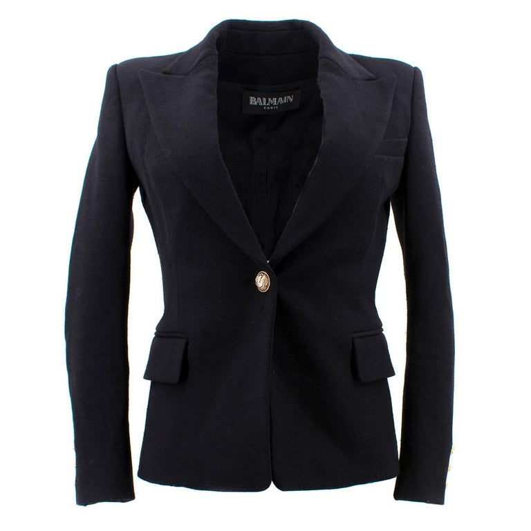 Balmain Black Single Breasted Blazer Jacket For Sale