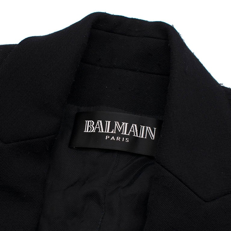 Balmain Black Single Breasted Blazer Jacket In Excellent Condition For Sale In London, GB