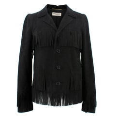 Yves Saint Laurent Fringed Black Goatskin Jacket