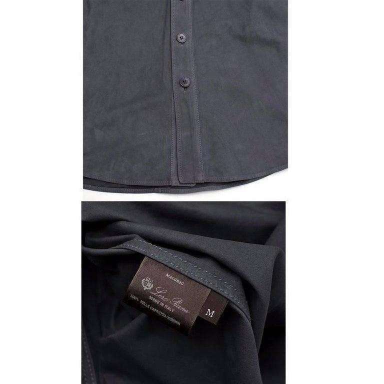 Loro Piana Blue Leather Shirt M For Sale 5