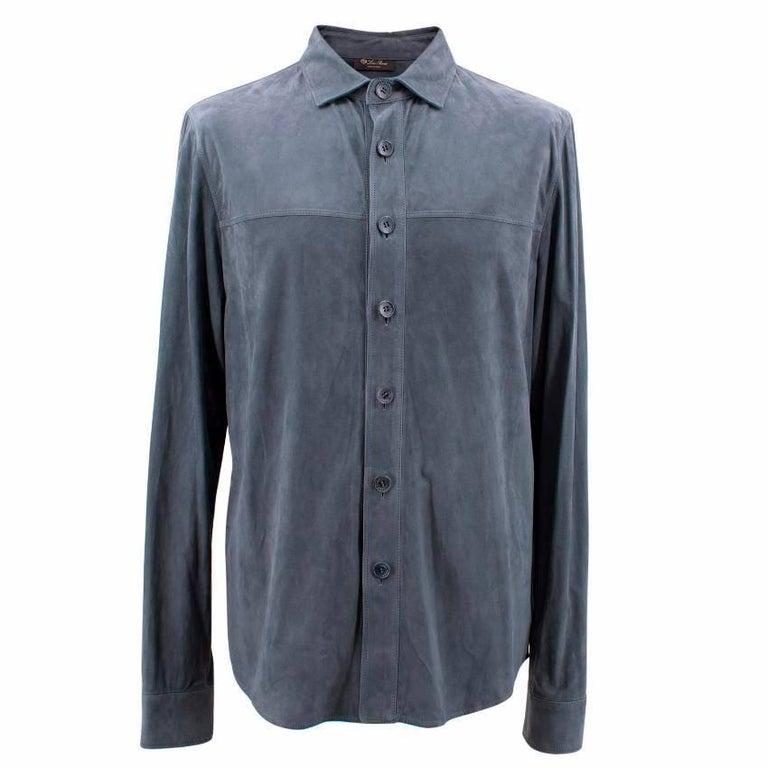 Loro Piana Blue Leather Shirt M For Sale 1