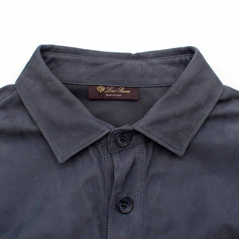 Loro Piana Blue Leather Shirt M In Excellent Condition For Sale In London, GB