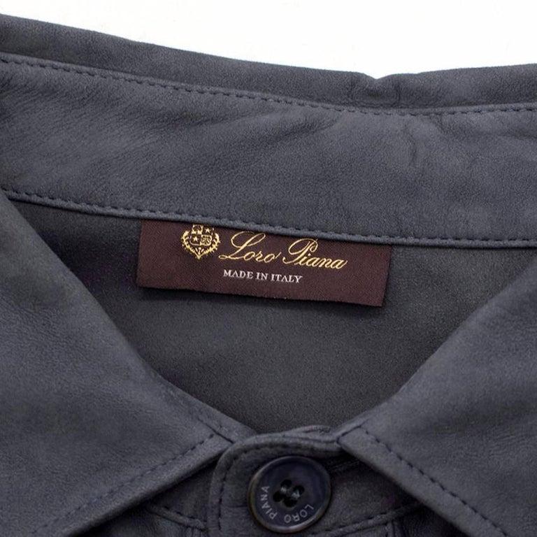 Men's Loro Piana Blue Leather Shirt M For Sale