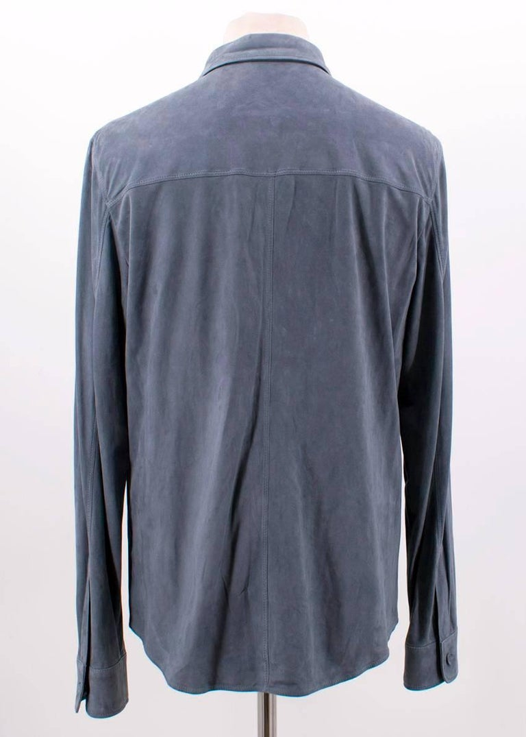 Gray Loro Piana Blue Leather Shirt M For Sale
