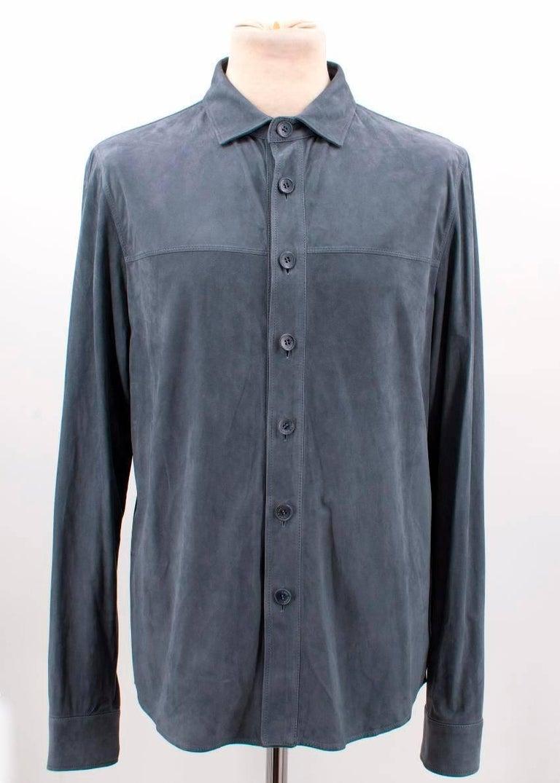 Loro Piana Blue Leather Shirt M For Sale 4