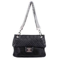 Chanel Black Leather Bag with Silver mesh Handle