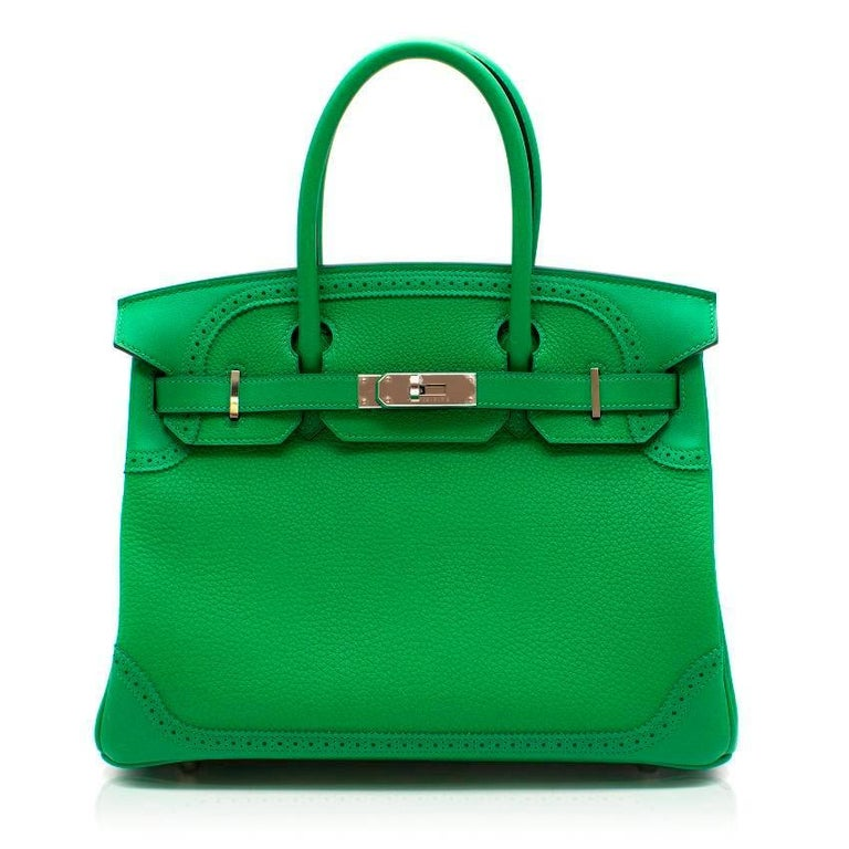 Hermes Bamboo Togo 30CM Ghillies Birkin Bag.  Made in France.  Date stamp:GS (2017)  Body: Togo Leather Trim: Swift Leather  Features two rolled leather handles.  Includes front flap closure using swivel clasp and a silver - and palladium-plated