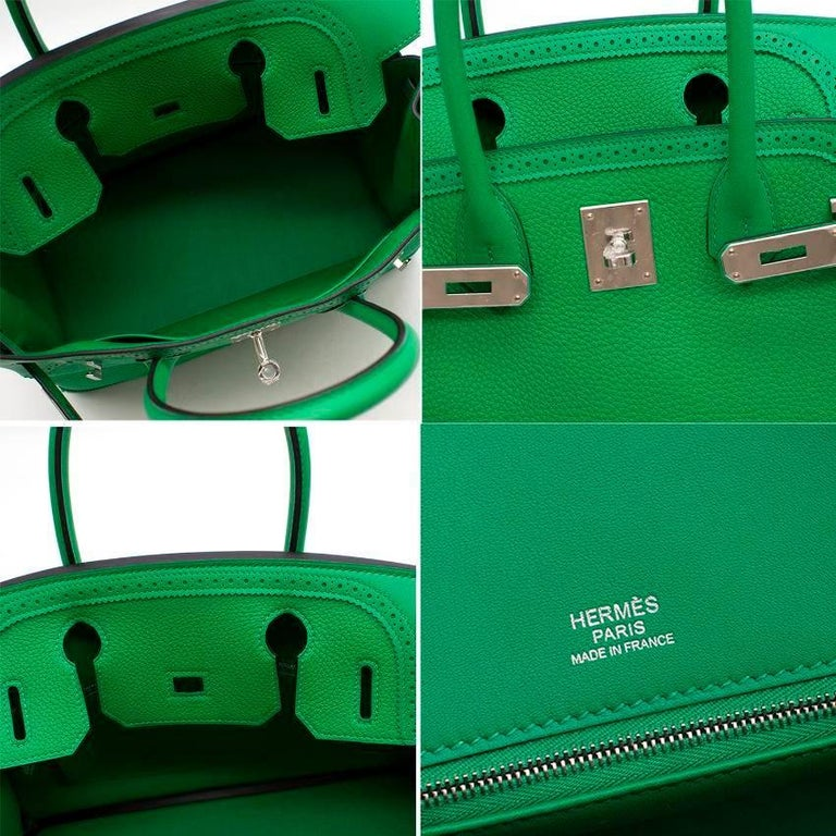 Green Hermes Bamboo Togo 30CM Ghillies Birkin Bag For Sale