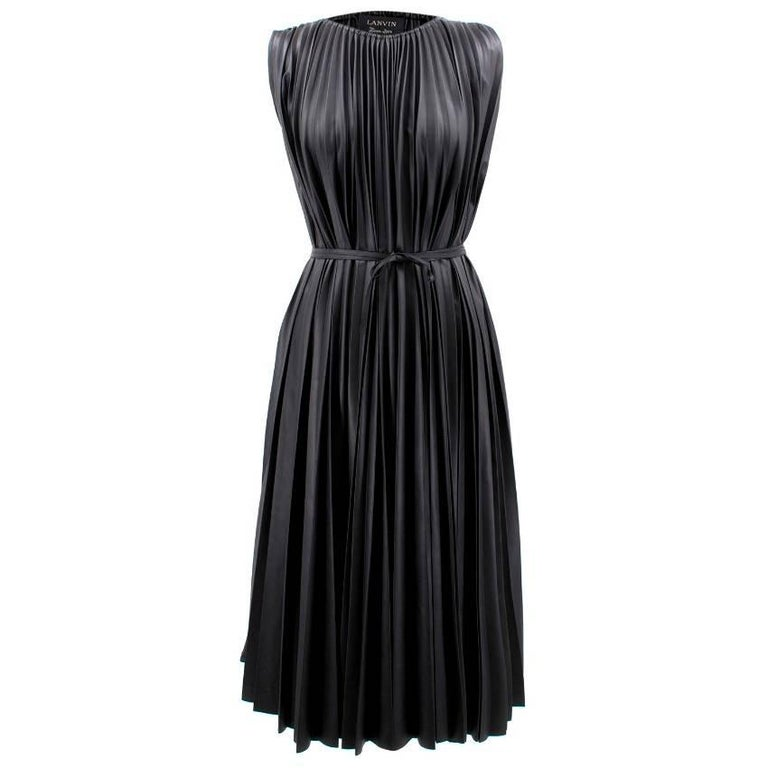 Lanvin Faux Leather Pleated Midi Dress (Size: US 0-2/XXS)