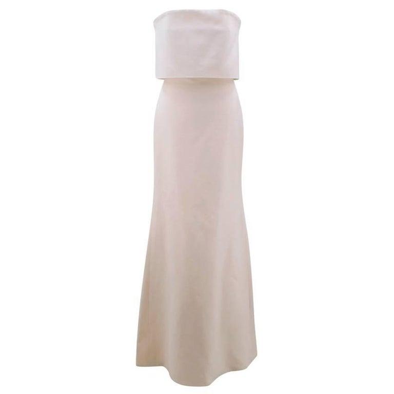 Victoria Beckham Cream Silk Column Strapless Gown (US: 6/S)