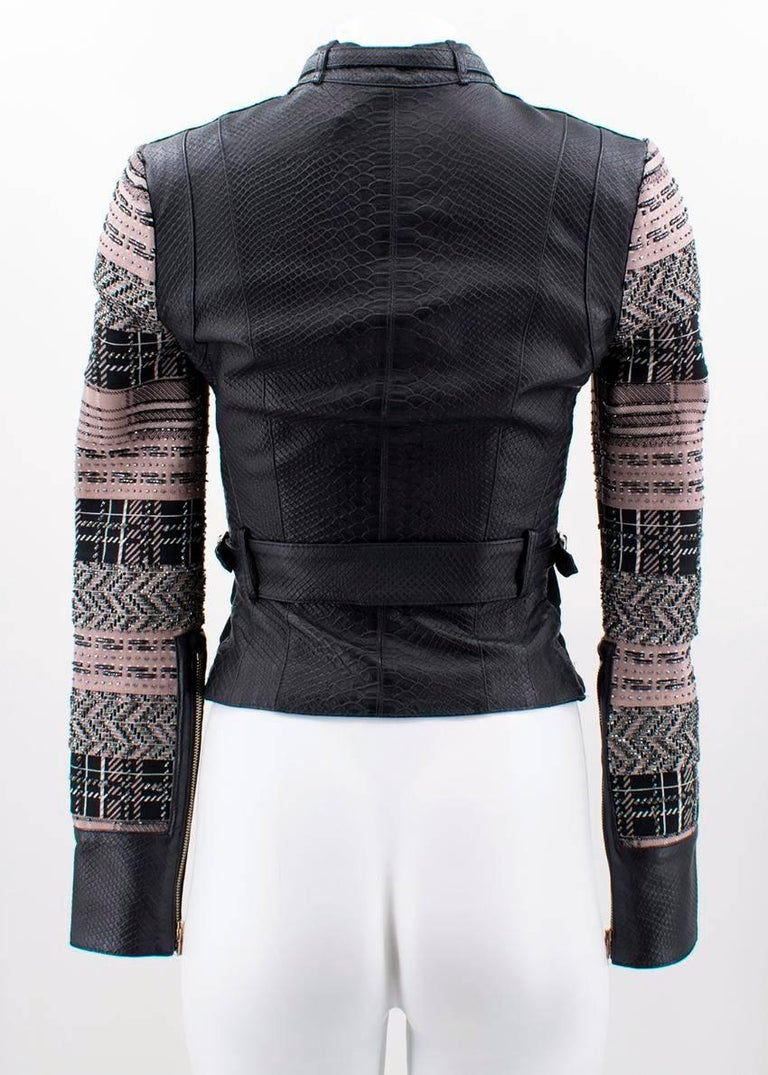 bbc6f2a9ef14 Herve Leger Black Lamb Leather Jacket (Size  US 4 XS) For Sale at ...