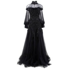 Alexander Mcqueen Black Beaded Tulle Gown (Size: US 6/S)