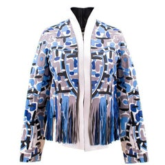 Fendi Patterned Blue Patterned Leather Jacket (Size: US 0-2/XXS)