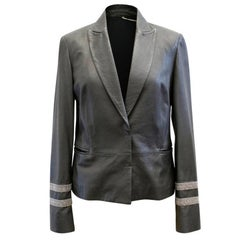 Brunello Cucinelli Grey Leather Blazer (Size: US 4/XS)