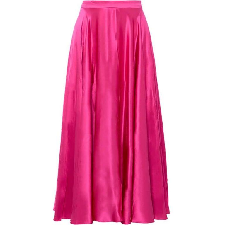 Gucci High Waisted Silk Satin Midi Skirt
