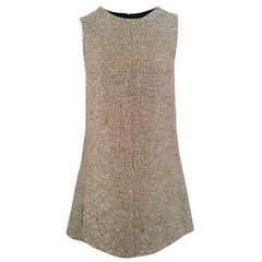 Saint Laurent Metallic Tweed Shift Dress