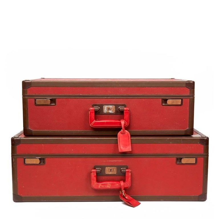 Louis Vuitton Pair of Vintage Red Leather Suitcases