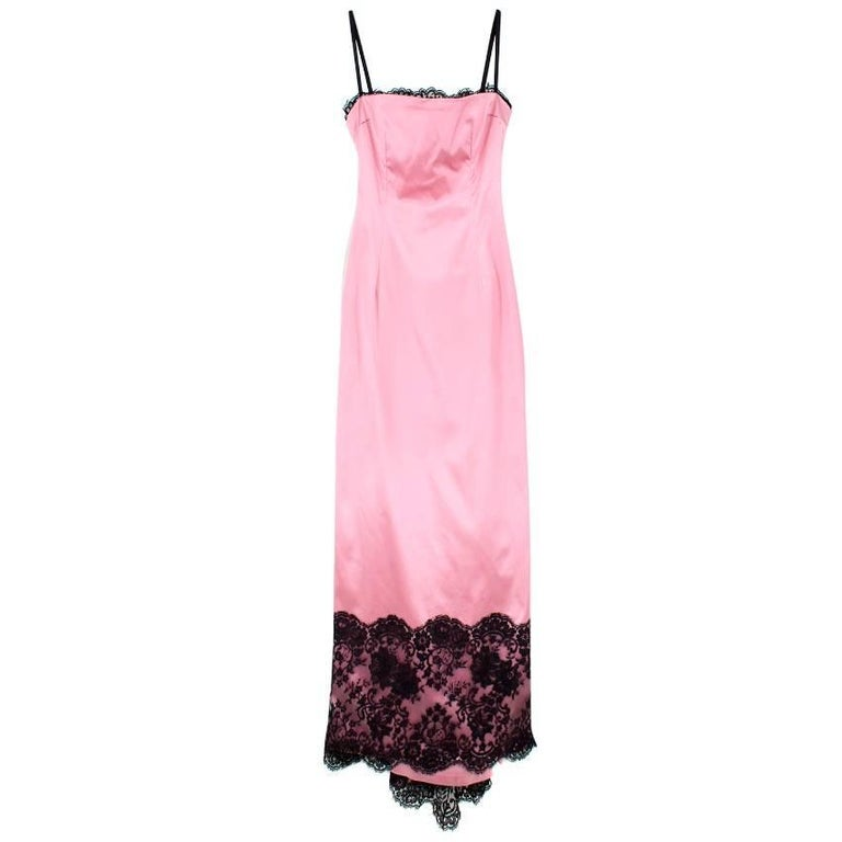 Dolce and Gabbana Pink Satin and Lace Gown US Size 8 For Sale at 1stdibs