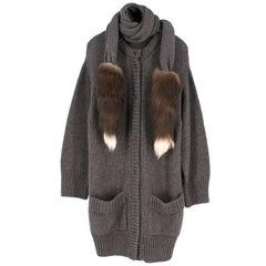 Dolce & Gabbana Grey Wool & Alpaca Blend Fox Tail Trim Cardigan US size 4