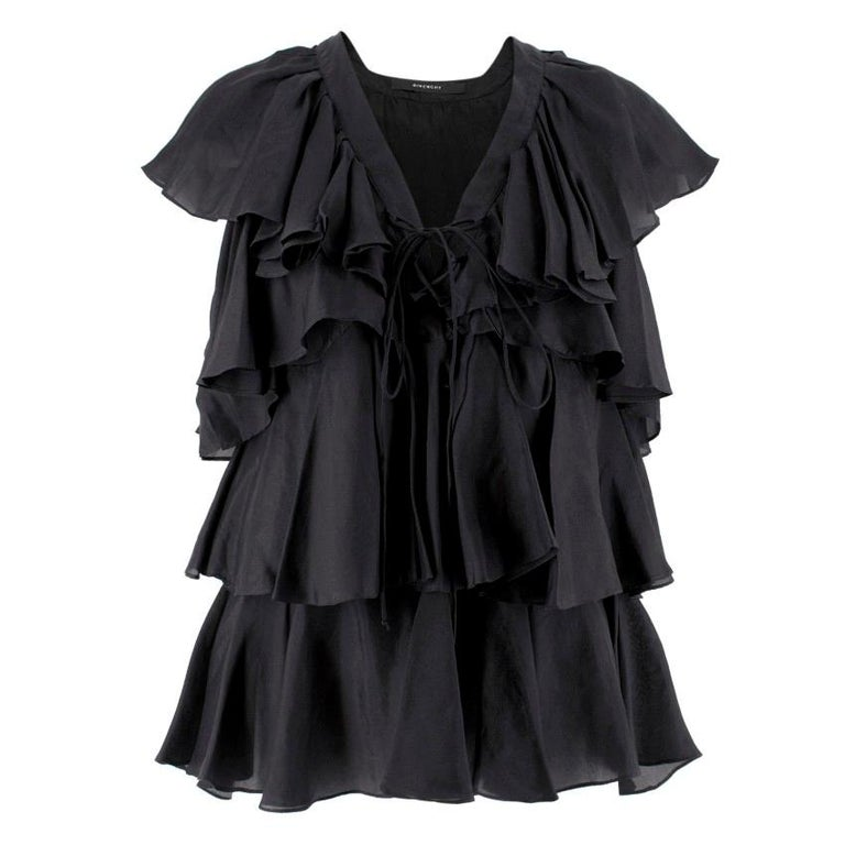 Givenchy Black Silk Ruffle Top Size 4