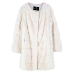 Cher Fur White Mink Fur Longline Coat with inner waist ties Size 10