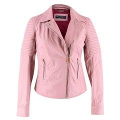 Dolce & Gabbana Blush Leather Biker Jacket Size XXS