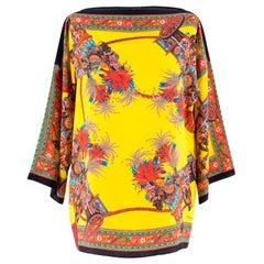 Dolce & Gabbana Yellow Abstract Silk Blouse Size US 0-2