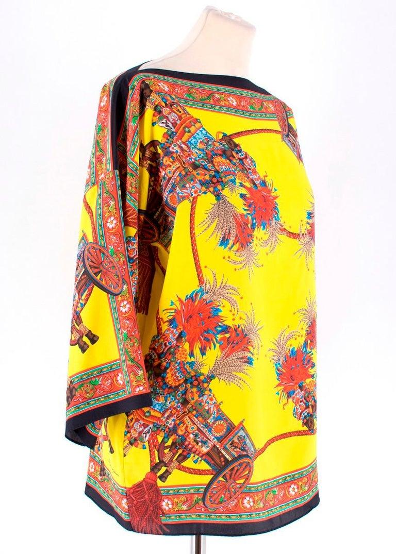 59884f2b Dolce & Gabbana Yellow Abstract Silk Blouse Size XXS -Yellow/Red/Blue/