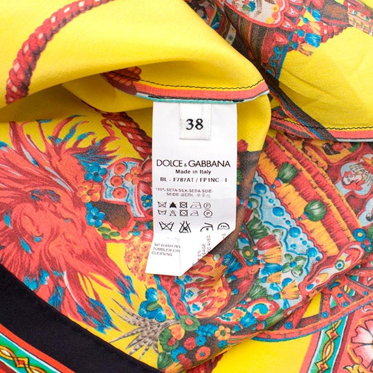 d73ff46c Dolce and Gabbana Yellow Abstract Silk Blouse Size US 0-2 at 1stdibs