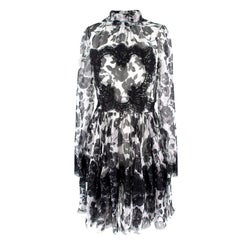 Dolce & Gabbana Printed Silk and Lace Sheer Floral Dress Size S