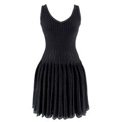 Alaia Black Metallic Striped Knit Pleated Dress Size 6